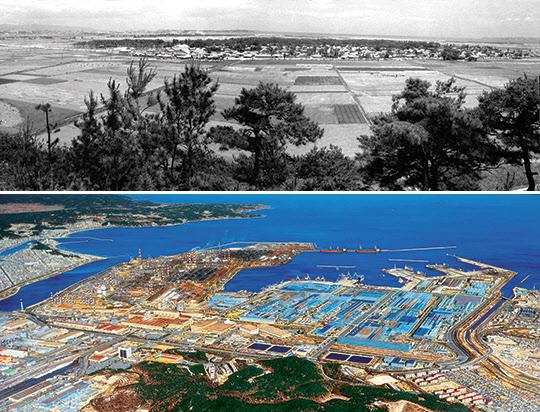 1968년(위)과 1978년 포항제철 부지 전경.