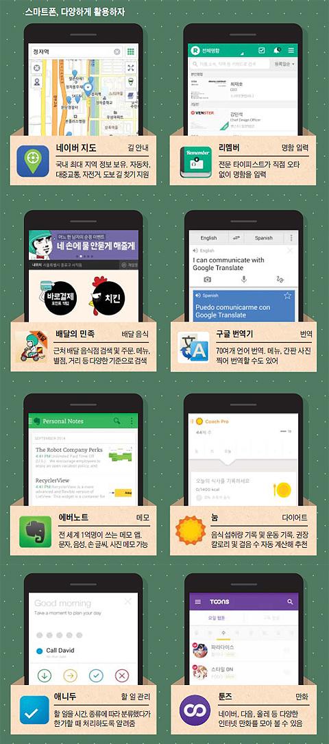 다양한 앱 사진들