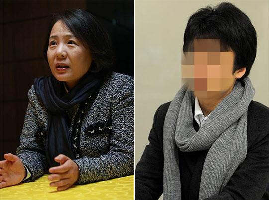 임수경 의원(왼쪽)과 탈북 대학생 백요셉씨. 백씨의 얼굴은 신변 보호 차원에서 모자이크 처리했다.  /조선일보DB