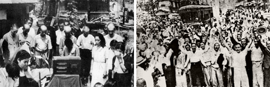 (왼쪽)8월 15일 도쿄 - 1945년 8월 15일 폐허가 된 일본 도쿄 시내에서 히로히토 일왕의 라디오 방송을 듣는 시민들. (오른쪽)8월 16일 서울 - 1945년 일제의 항복 소식을 듣고 거리로 나와 환호하는 서울 시민들. 8월 16일 서대문형무소 앞에서 촬영한 것으로 알려져 있다.