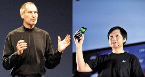 애플 창업자 스티브 잡스(왼쪽)와 샤오미 창업자 레이쥔 회장(오른쪽)이 각각 기업 프레젠테이션을 하는 모습. 레이쥔 회장의 옷차림이나 몸짓이 스티브 잡스와 상당히 흡사하다.