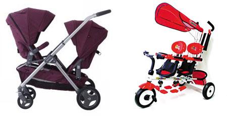 쌍둥이용 유모차(왼쪽)와 자전거.