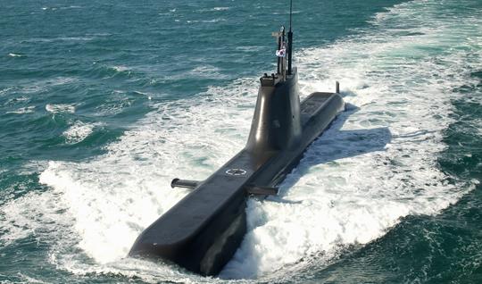 우리 군이 보유한 최신예 214급(손원일급, 1800t) 잠수함의 모습.