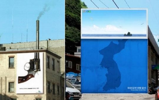 이제석 대표의 주요 작품. '한해 6만명이 대기오염으로 사망합니다'(왼쪽)와 '독도를 잃으면 나라를 잃는다' / 이제석광고연구소 제공