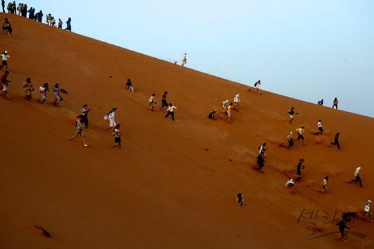 모래언덕에서 뛰어 내려오는 사람들