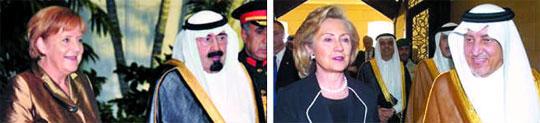 지난 2010년 사우디아라비아를 방문한 앙겔라 메르켈(왼쪽) 독일 총리와 힐러리 클린턴(오른쪽) 당시 미국 국무장관. 각각 국가 정상, 최고위직 인사라는 점 때문에 히잡 등 이슬람식 전통 복장을 하지 않고 일정을 소화했다.