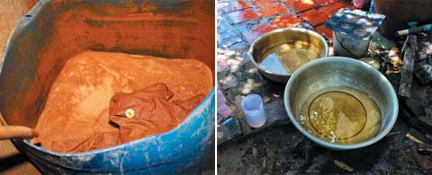 지난 1월 베트남 붕따우성 빈 짜오(Binh chau) 마을의 우물가에 모래가 든'간이 정수통'이 놓여 있다. 비소와 진흙으로 오염된 우물물 때문에 통 속의 모래가 붉게 변해 있다(왼쪽). 이 정수통으로 걸러 나온 누르스름한 물이 양동이에 담겨 있다. 제대로 정수되지 않아 비소(As)·알루미늄(Al) 등이 허용치보다 많은 이 물을 주민들이 식수로 쓴다(오른쪽).