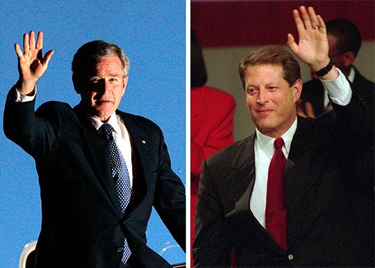 2000년 당시 치열한 美 대선을 치른 조지 W 부시 美 전 대통령(좌)과 엘 고어 美 전 부통령./조선 DB