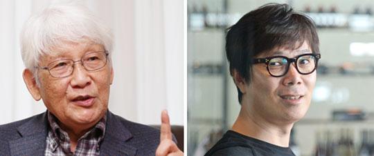 문학평론가 유종호(왼쪽), 소설가 김영하.