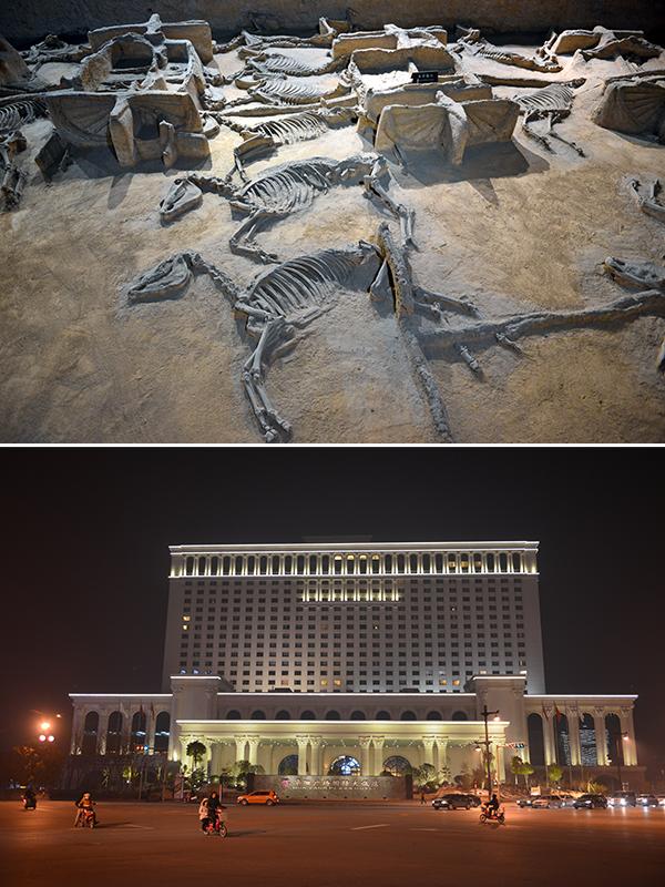 톈쯔쟈류 순장갱 내 왕이 타던 천자가륙의 모습(상)과 화양광장국제호텔 외관(하).