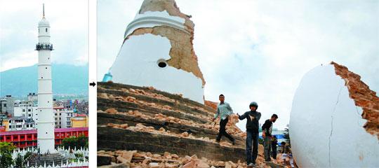 카트만두 중심 시가지에 위치한 62m 높이의 다라하라 타워가 25일 강진으로 대(臺)만 남고 완전히 무너졌다(오른쪽). 1832년 세워진 이 타워는 2005년부터 일반인들에게 개방됐다. 다라하라 타워가 무너지면서 전망대의 관광객 등180여명이 사망했다. 왼쪽 작은 사진은 작년 7월 무너지기 전의 다라하라 타워 모습.