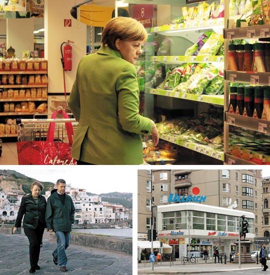 지난 30일 저녁 베를린의 단골 수퍼마켓에 장 보러 들러 식료품 진열 코너를 찬찬히 들여다보고 있는 앙겔라 메르켈 독일 총리(위 큰 사진). 낮부터 대기하던 기자가 총리와 경호원이 들어서자 신분을 밝히고 양해를 구하면서 촬영했다. 이곳은 외관도 내부도 특별할 것 없는 평범한 도심 수퍼이다(아래 오른쪽 사진). 메르켈 총리는 종종 남편 요아힘 자우어(아래 왼쪽 사진 속 남성) 훔볼트대 교수와 함께 장 보러 오기도 한다.