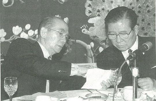 1997년 12월 김대중 대통령 당선자와 박태준 자민련 총재.