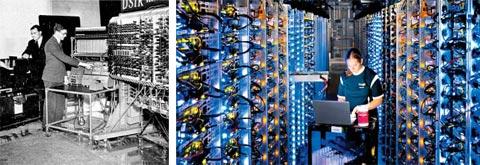 2차 세계대전 중 앨런 튜링은 자신이 개발한 자동 계산기 '봄베(bombe·사진 왼쪽)'로 독일군의 암호를 해독해 연합군의 승리에 결정적인 기여를 했다. 컴퓨터의 원형(原形)인 이 기계가 나온 이후 튜링의 이름을 딴 튜링상 수상자들이 컴퓨터 발전을 주도했다. 구글 데이터센터(사진 오른쪽)가 빅데이터 기술을 활용할 수 있는 것도 튜링상 수상자인 마이클 스톤브레이커 MIT 교수가 개발한 데이터베이스 기술 덕분이다.