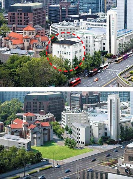 78년 만에 철거될 예정인 옛 국세청 남대문 별관이 덕수궁과 서울시의회 건물 사이에 서 있다(왼쪽 빨간 점선). 오른쪽 그림은 이 건물을 허물고 잔디 광장으로 조성한 모습을 상상해 그린 조감도다. 이 건물에 가려져 보이지 않던 대한성공회 서울대성당 건물이 세종대로를 지나는 차 안에서도 보이게 된다.