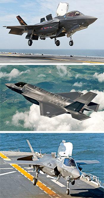 2013년 8월 미국 록히드마틴사가 개발한 첫 단거리이륙ㆍ수직착륙(STOVL)형 스텔스 전투기인 F-35B 라이트닝 II가 수륙양용함 USS 와스프에 착함하고 있다.