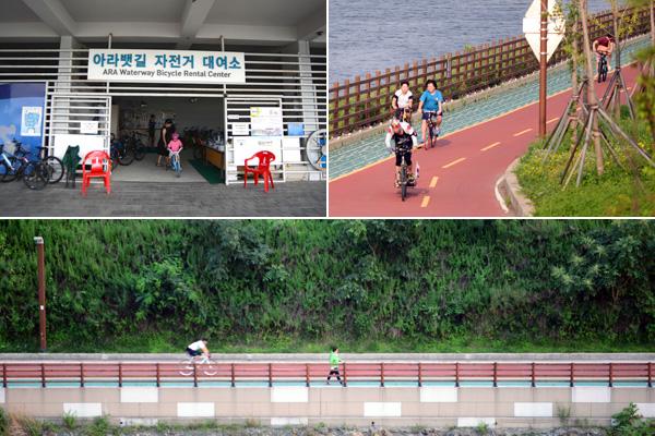 아라뱃길 자전거도로(오른쪽 위, 아래)는 자전거가 없어도 자전거를 대여(왼쪽 위)해서 이용할 수 있다.
