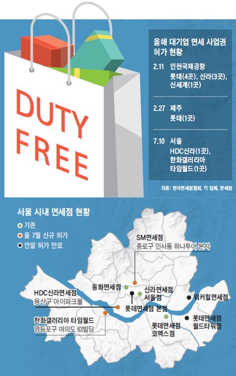 서울 시내 면세점 현황 지도