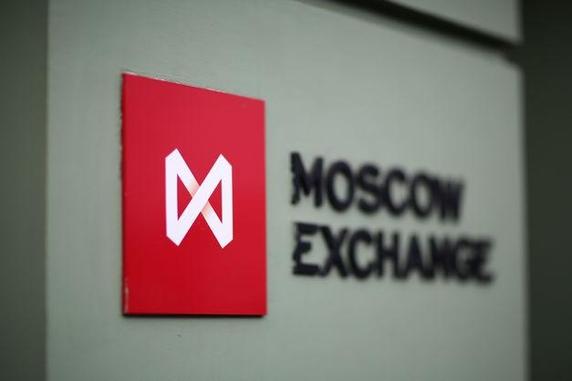 모스크바 증권거래소(MOEX)의 로고/블룸버그 제공