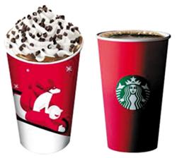 연말이면 별, 썰매 등 크리스마스를 상징하는 그림이 그려진 컵으로 성탄절 분위기를 냈던 스타벅스(왼쪽·2011년 컵)가 올해는 이런 그림을 뺀 채 빨간색으로 칠한 컵만 내놓았다(오른쪽).