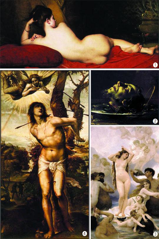 ①쥘 조제프 르페브르의'오달리스크'(1874년) 시카고 아트 인스티튜트 소장. ②프란체스코 카이로의'세례 요한의 머리'(1630년경) 칸 미술관. ③윌리앙 아돌프 부그로의'비너스의 탄생'(1879년) 파리 오르세 미술관. ④소도마의'성 세바스티아누스의 순교'(1525~1526년) 피렌체 피티궁.