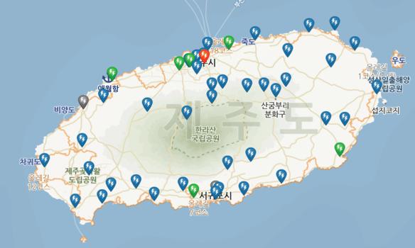 제주도내 전기차 충전소를 표시한 지도 /전기차 충전 인프라 정보시스템 캡처