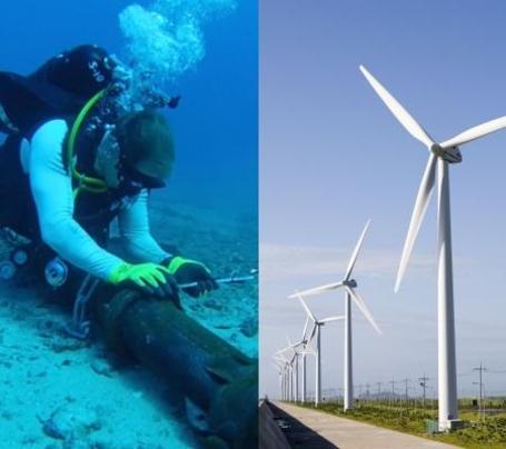해저케이블을 수리하고 있는 모습(왼쪽), 풍력단지의 모습(오른쪽) /조선DB