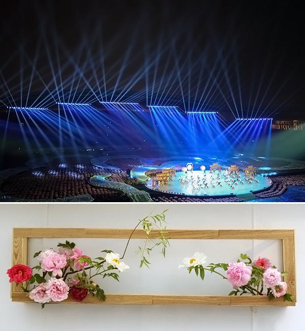 모란문화제 공연사진(상)과 모란꽃으로 만든 예술 작품(하).