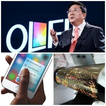 (위부터 시계방향으로) 한상범 LG디스플레이 부회장이 OLED 전략을 소개하고 있다. LG디스플레이의 플라스틱 OLED로 만든 폴더블 디스플레이. 애플 아이폰6. /조선비즈DB