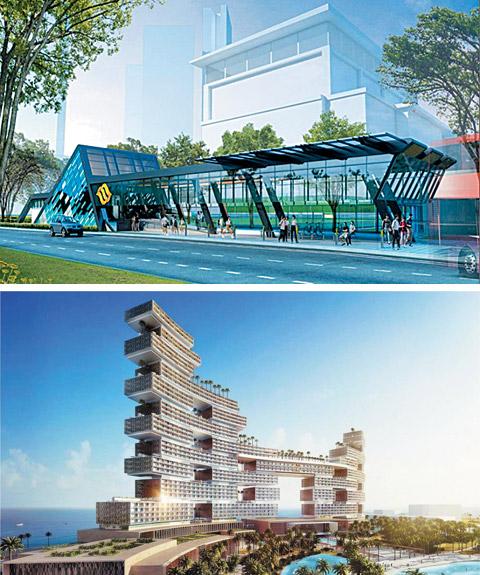 쌍용건설이 최근 수주한 싱가포르 도심 지하철 공사에 포함된 역사(驛舍) 진입로(위)와 작년 12월 수주한 두바이 로열 애틀랜티스호텔(아래)의 조감도.