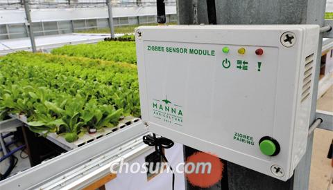 유리온실의 온·습도, 이산화탄소 등 센서가 감지한 각종 정보를 전송하는 통신 장비 사진