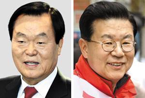 김경재(왼쪽), 허준영.