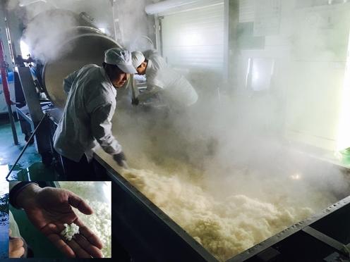 직원 두 명이 솥에서 갓 찐 고두밥을 통에 담아 내리고 있다/변지희 기자
