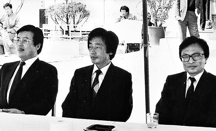 1988년 총선에서 서울 관악을에 출마했던 김종인 민주정의당 후보, 권태오 신민주공화당 후보, 이해찬 평민당 후보 (왼쪽부터).