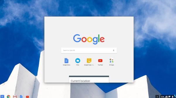 크롬북11을 부팅하고 로그인하면 나타나는  화면. 왼쪽 하단의 검색 아이콘을 누르면 위와 같이 구글 검색 창과 최근에 쓴 애플리케이션이 화면이 나타난다.  /류현정 기자