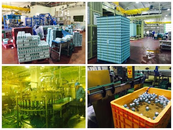 부라더#소다 캔 생산 모습. 용량이 부족한 캔은 따로 선별해 폐기한다(사진 오른쪽 아래)./변지희 기자