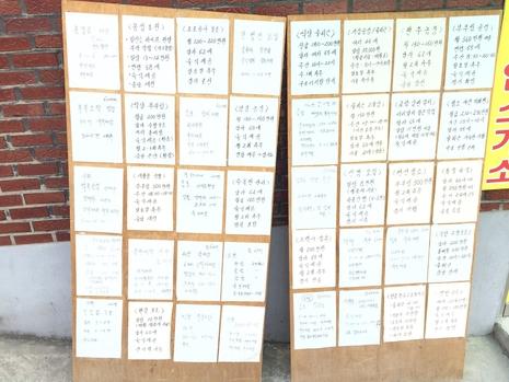 대림동 중국인 거리 내 한 직업소개소 입구에 구인 메모가 붙어 있다. /이승주 기자