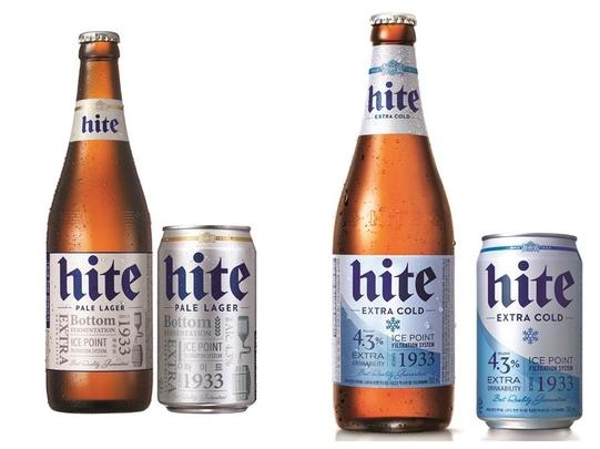 하이트진로가 이름빼고 다 바꿔 새롭게 선보인 '올 뉴 하이트'(오른쪽). 맥주의 청량감을 상징하는 푸른색 사선을 이용해 기존 '뉴 하이트'보다 모던함을 강조했다. /하이트진로 제공