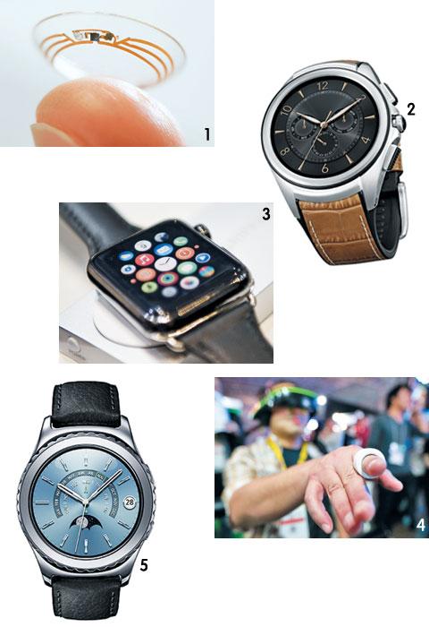 1 구글의 스마트 콘택트렌즈. 2 LG전자의 LG워치 어베인 세컨드. 3 애플이 내놓은 스마트 워치 '애플워치'. 작년 세계 시장에서 판매량 1위였다. 4 작년 9월 일본 도쿄 게임 쇼에서 공개된 로그바의 스마트링. 5 삼성전자의 스마트워치인 기어S2 클래식 플래티넘.