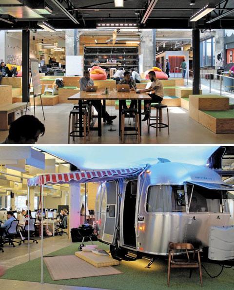 에어비앤비는 샌프란시스코 본사에 실제로 게스트가 예약할 수 있는 숙소들을 그대로 옮겨놨다. 호스트 가정의 거실과 똑같이 생긴 사무실, 호스트 가정의 캠핑카를 닮은 회의실에서 에어비앤비 직원들은 업무를 보고 회의를 한다. 개인 칸막이가 없이 탁 트여 있고 통유리를 설치해 소통 효율성을 높였다.