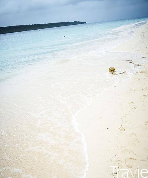 '미야코블루'라 불리는 미야코지마만의 바다색. 에메랄드빛이 더해진 청명한 파란색이 더없이 아름답다