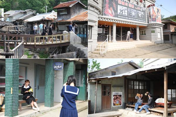 드라마 세트장에서는 한국의 옛 교복을 대여할 수 있으며 곳곳에서 기념사진을 남기기에 좋다.