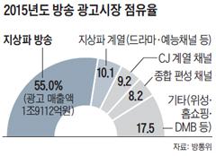 2015년도 방송 광고시장 점유율 그래프