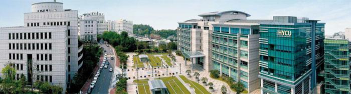 서울 행당동 한양대학교 안에 자리한 한양사이버대학교 건물.