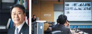 류태수 한양사이버대학교 부총장(왼쪽 사진)과 한양사이버대학교 대학원의 온라인 세미나 장면.