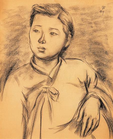 1949년 만삭인 아내를 목탄으로 그린 드로잉.