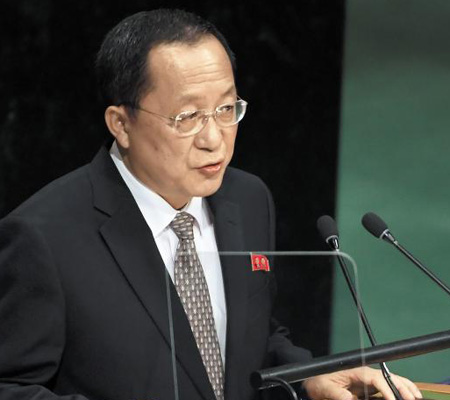 북한 리용호 외무상이 23일(현지 시각) 미국 뉴욕 유엔본부에서 열린 유엔총회에서 연설하고 있다.