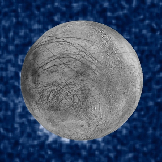 목성 위성 유로파 관측 이미지. 7시 방향에 수증기가 분출한 흔적이 찍혀 있다./NASA 제공