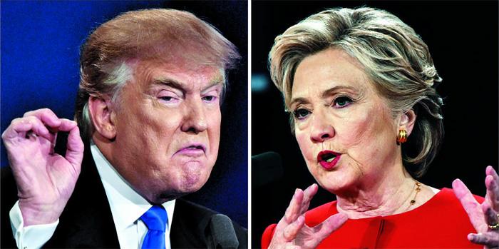 26일 미국 뉴욕주(州) 헴프스테드의 호프스트라대학에서 열린 미국 대선 첫 TV 토론에서 공화당의 도널드 트럼프(왼쪽)와 민주당의 힐러리 클린턴(오른쪽) 후보는 일자리·납세·이메일 스캔들·핵 확산 등 다양한 이슈를 놓고 90분간 한 치도 물러서지 않는 공방을 벌였다.