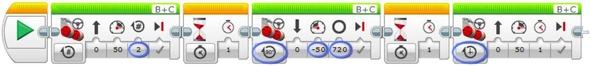 프로그래머용 프로그램을 사용해 직진으로 움직이게 만드는 명령어를 만든 모습.